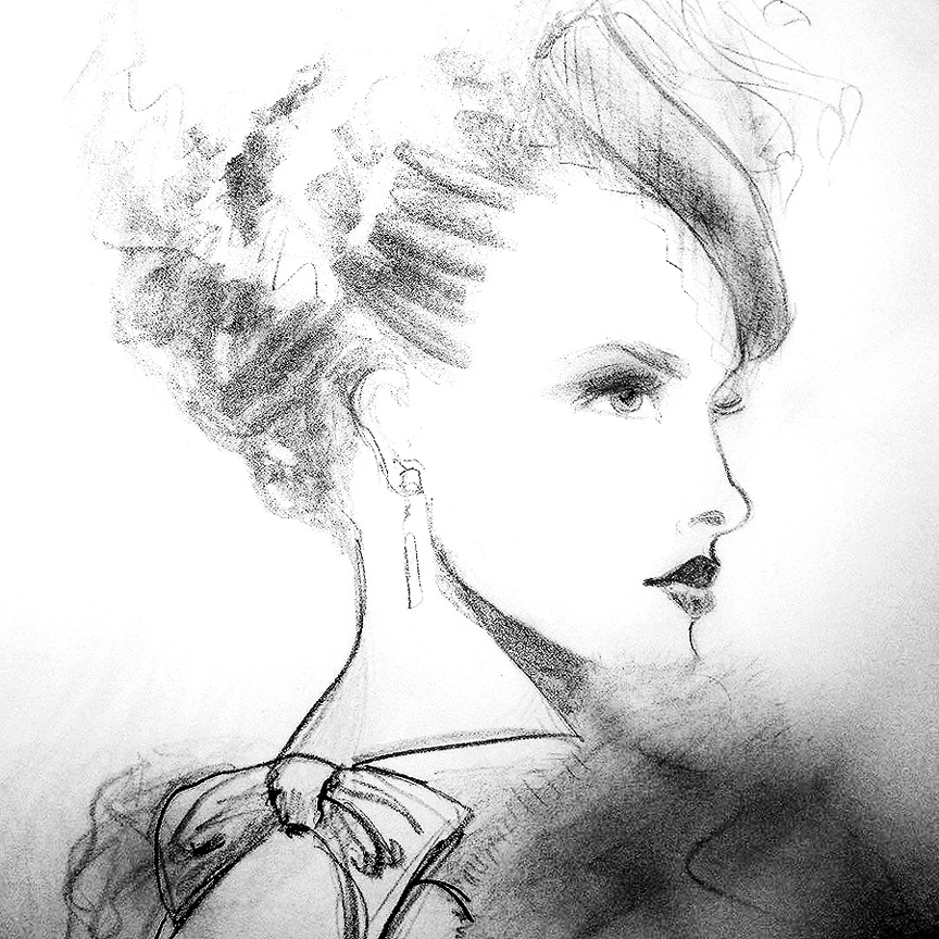 black & white profile sketch