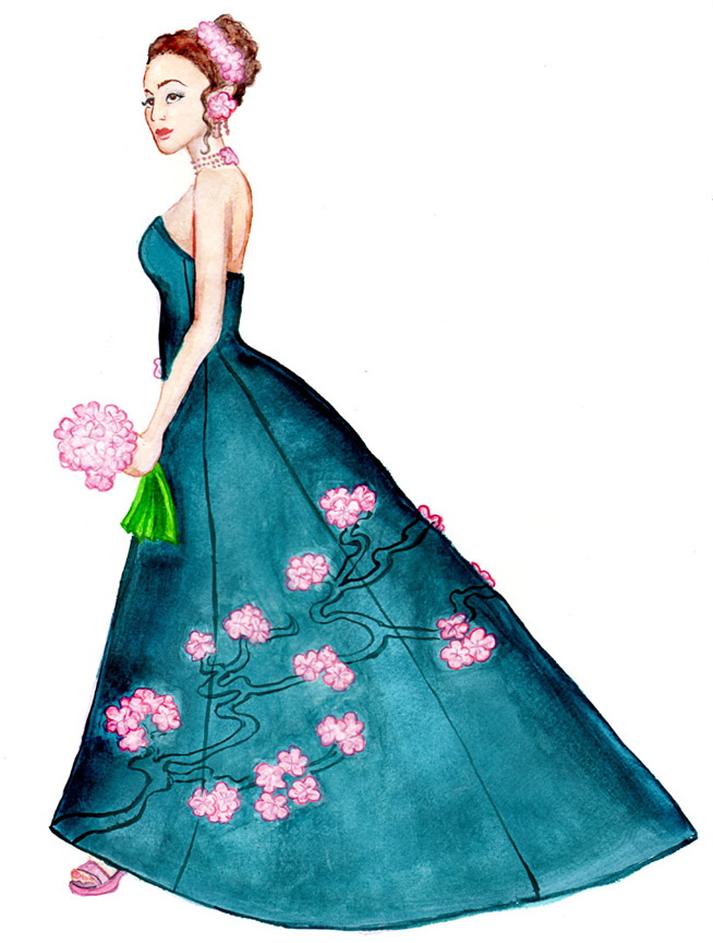 teal silk bridal gown