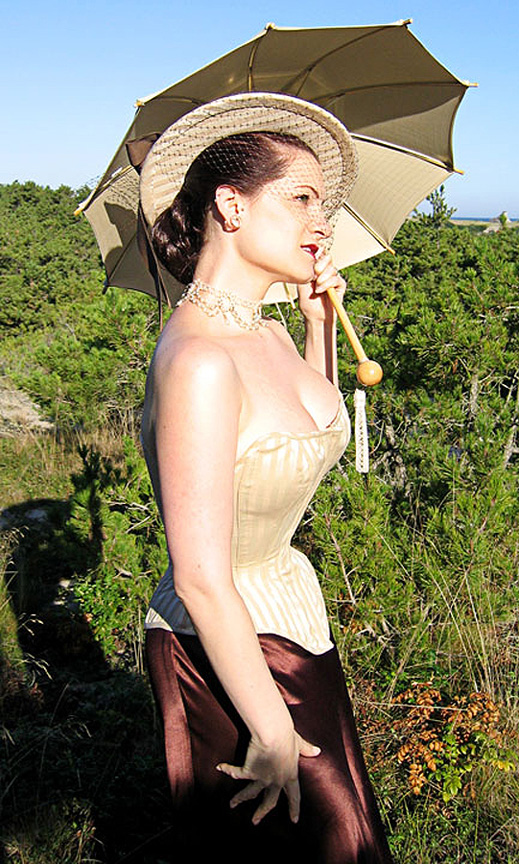 striped cotton corset and parasol