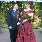 red silk bridal ensemble