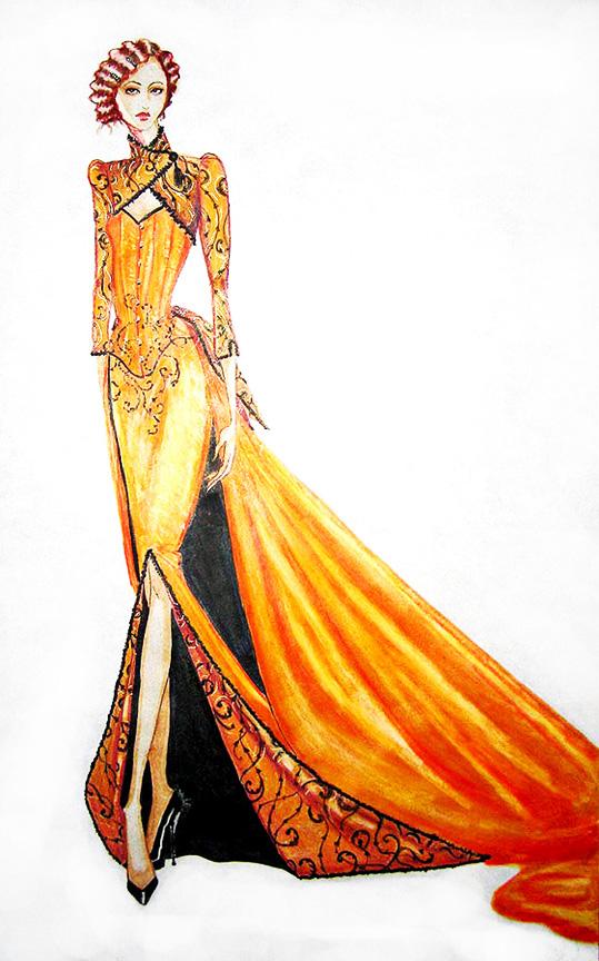 orange silk gown