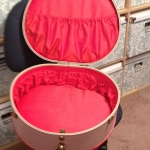 Interior of the hatbox, now fully padded and lined