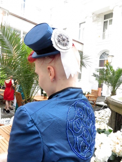 Back view - St. John's Ambulance cockade on tiny fully fashioned riding hat, hand-beaded jacket