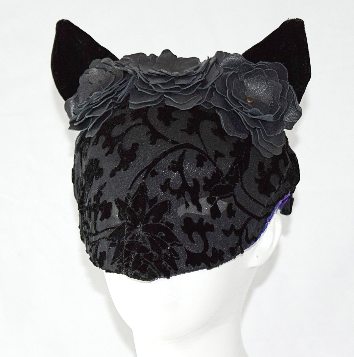 velvet and leather cat mask