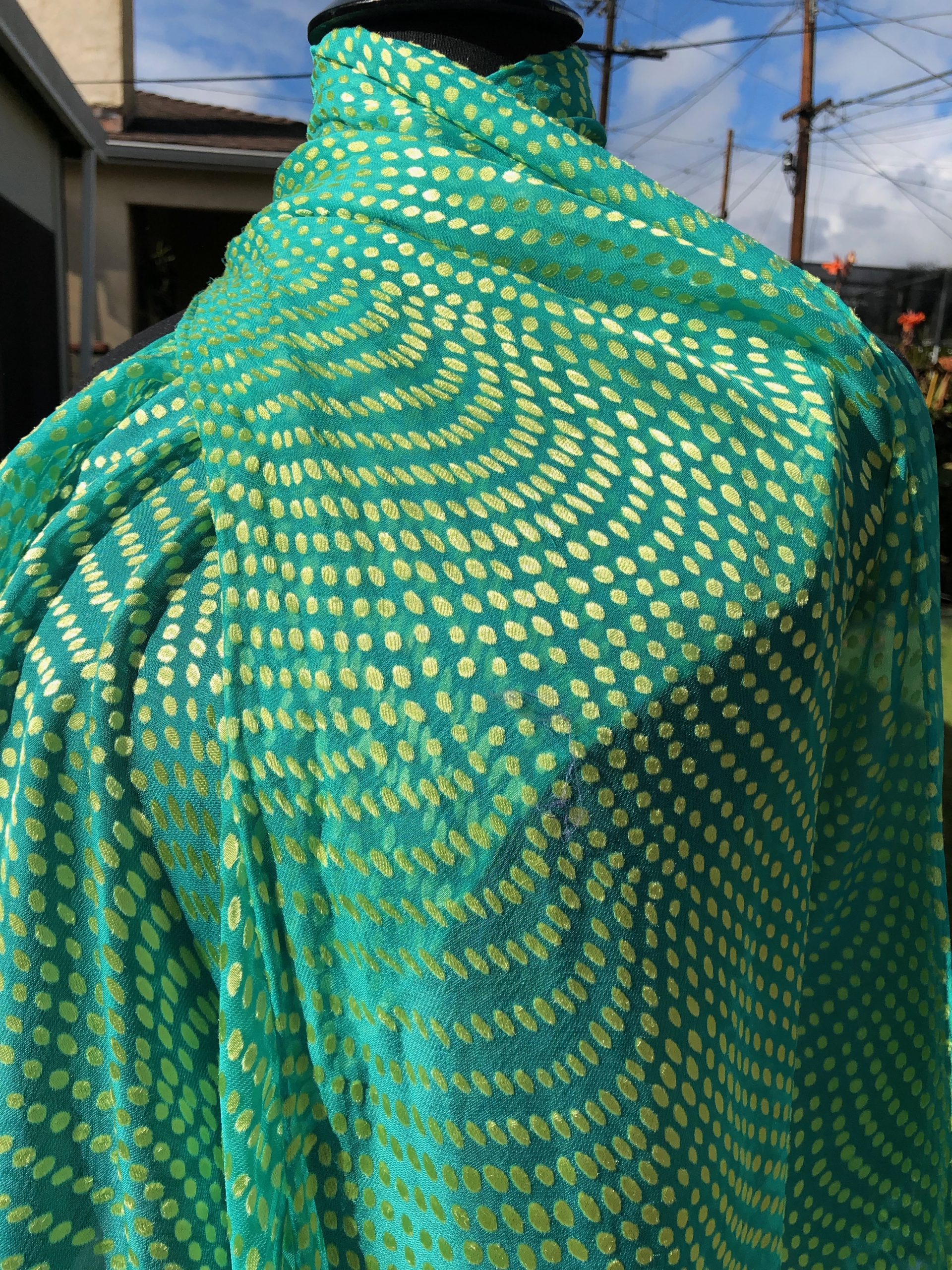 silk/rayon satin/chiffon gold and green dot contrast dyed scarf