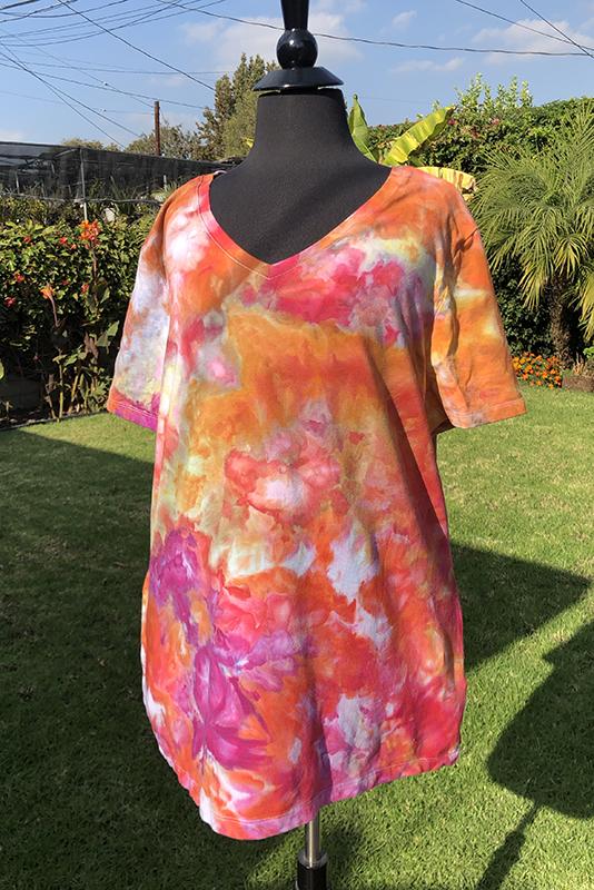 orange and fuchsia ice dyed cotton/modal tee