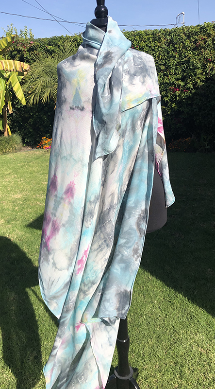 statement piece multicolored ice dyed large silk/wool scarf