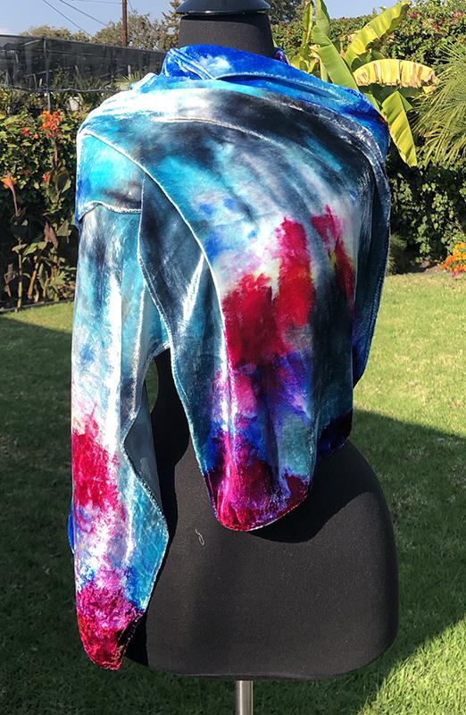 Silk/rayon velvet ice dyed scarf