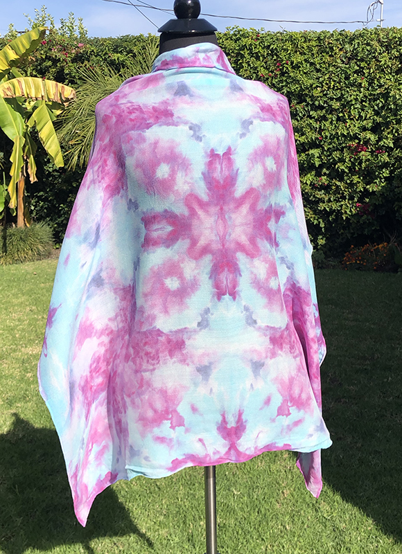 symmetrically ice dyed pastel blue and pink 35″ square silk wool scarf