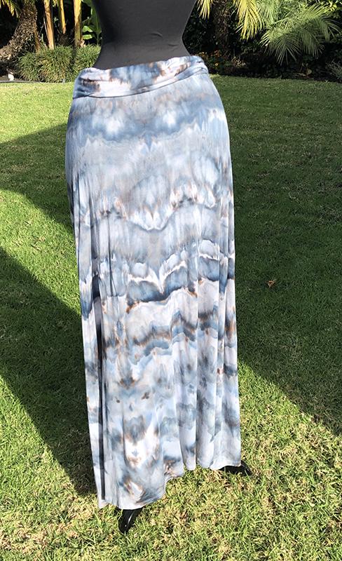 Ice dyed stretch rayon foldover waist maxi skirt size XL