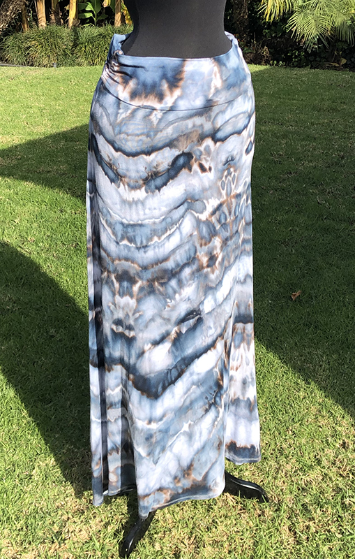 Ice dyed gray and black rayon maxi skirt size L