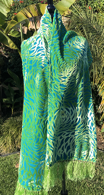 Silk/rayon devoré velvet peony scarf in Caribbean and chartreuse
