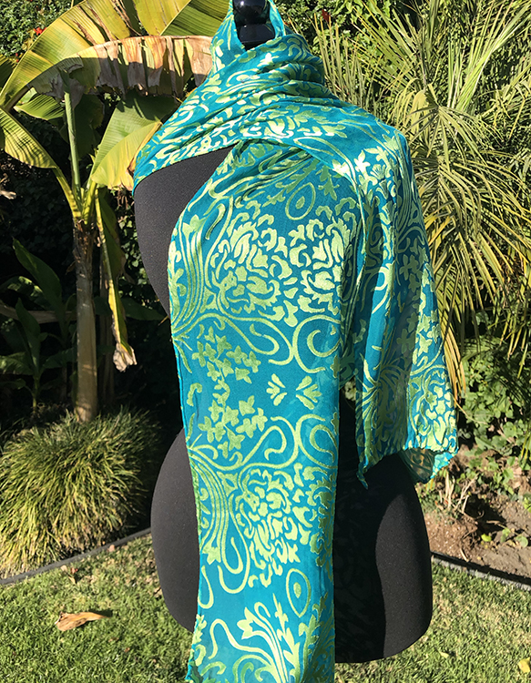 Silk/rayon satin/chiffon nouveau patterned scarf in Caribbean and gold
