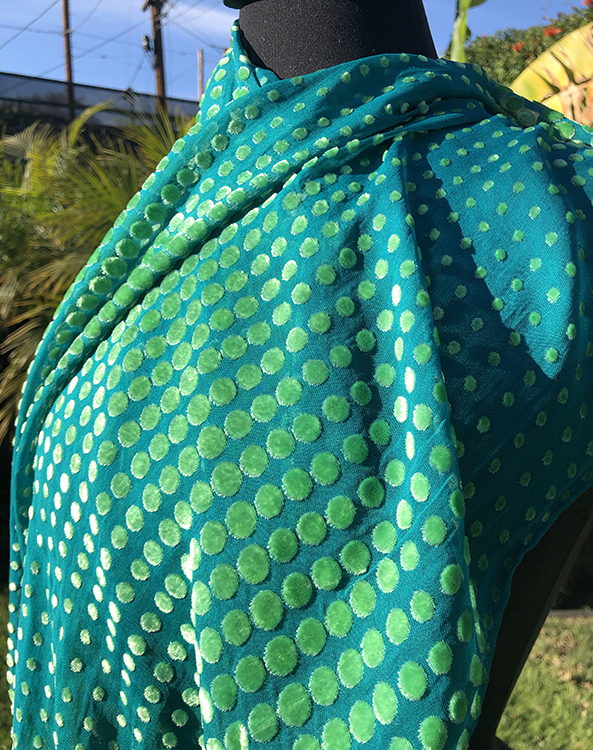 silk/rayon devoré velvet dotted scarf in Caribbean and gold