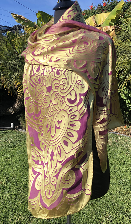 Silk/rayon satin/chiffon arabesque patterned scarf in gold and amethyst
