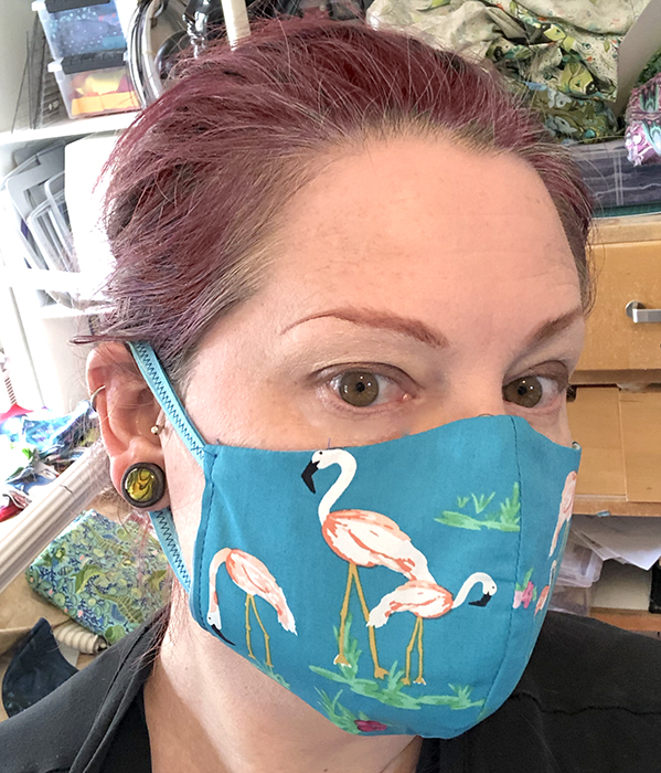 flamingo fitted mask