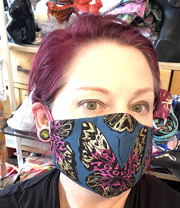 metallic butterfly masks, fitted, assorted colors