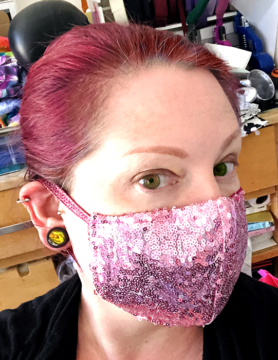 Pink sequin fitted mask