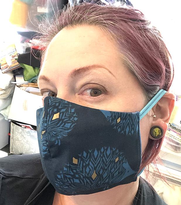 metallic teal hedgehog fitted mask
