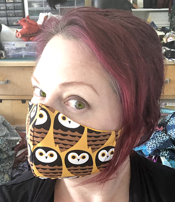 Yellow and brown owls fitted mask
